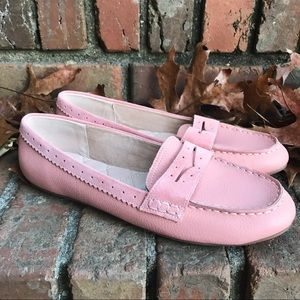[Land's Ends] Pink Leather Slip On Penny Loafers